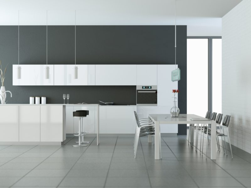 Bright modern kitchen in a room with grey wall 3d Illustration